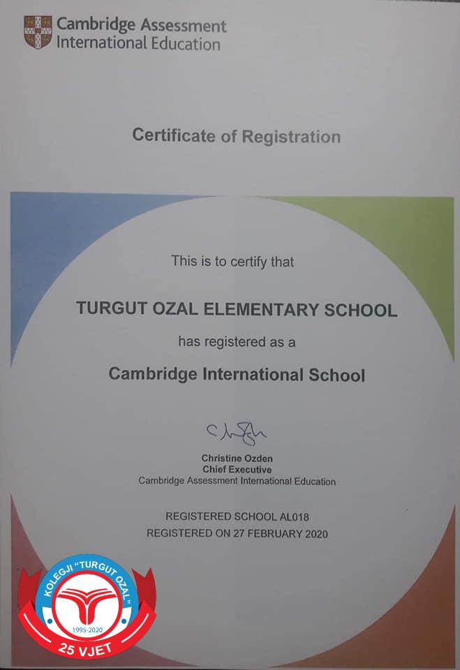"""Shkolla """"Turgut Ozal"""" akreditohet nga """"Cambridge International"""""""